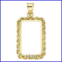 14k Gold 4 Prong Rope Bezel frame for 2.5 gram Pamp Suisse Fortuna Gold Bar
