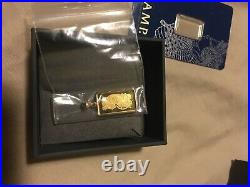 14k Gold 5 Gram Pamp Suisse. 999 Lady Fortuna Bar Pendant