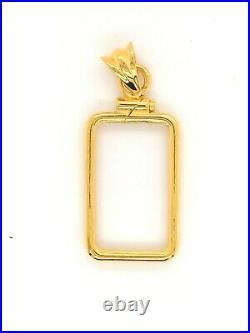 14k Yellow Gold Screw Top Coin Bezel 1 gram Pamp Suisse Fortuna Gold Bar