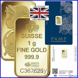 1g. 999 fine Gold PAMP Bullion Bar. Solid pure 24k gold for investment/gift