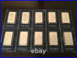 1oz Pamp Suisse Lady Fortuna. 999 Fine Silver Bar 10x Total Package Lot