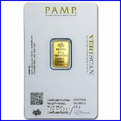 2 1/2 Gram. 9999 Fine Gold Bar PAMP Suisse Brilliant Uncirculated Sealed