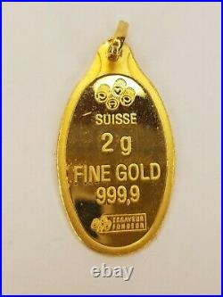 2.2 gram. 999 Gold Bar Oval Pendant with Bail PAMP Suisse Angel Cherub Gold Dream