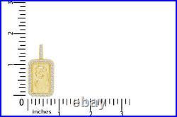 2.5 Ct Round Cut 14k Gold Over Men's Pamp Suisse Bar Pendant
