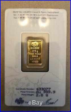 2.5 Gram Gold Bar PAMP Card Sealed w S# & Certificate # Suisse Lady Fortuna
