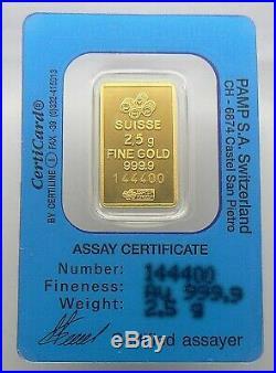 2.5 Gram Gold Dream Pamp Suisse 24k Gold Bar. 9999 Bar #144400