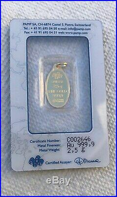 2.5 Gram Oval Gold Bar with PENDANT PAMP ROSE