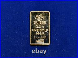 2.5 Gram PAMP SUISSE Gold Bar 999.9 Fine withOpen-Card BINARY RADAR SERIAL RARE