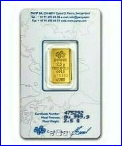 2.5 Gram Pure. 9999 Gold Bar Lady Fortuna Old Style In Assay. Limit One