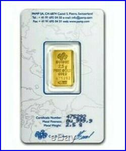 2.5 Gram Pure. 9999 Gold Bar Lady Fortuna Old Style In Assay. Limit Two