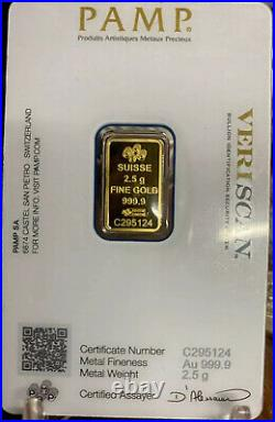 2.5 gram. 9999 Fine Gold Bar Certified And Sealed PAMP Bullionpost Imported