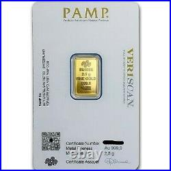 2.5 gram. 9999 Gold Bar PAMP Suisse Fortuna Sealed with Assay Card