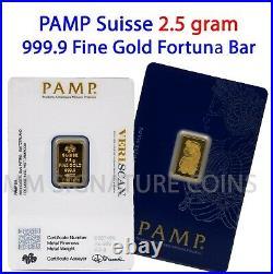 2.5 gram Gold Bar PAMP Suisse, Fortuna 999.9 Fine in Sealed Assay