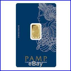 2.5 gram Gold Bar PAMP Suisse Lady Fortuna Veriscan. 9999 Fine (In Assay)