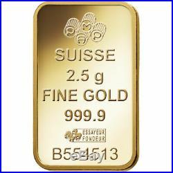 2.5 gram Gold Bar PAMP Suisse Lady Fortuna Veriscan In Assay Card