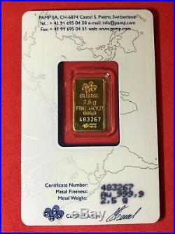 2.5 gram Solid GOLD PAMP SWISS 999.9 fine HORN OF PLENTY- FORTUNIA BAR- SEALED