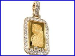 2.50ct Diamonds Pamp Suisse Bar Dog Tag Pendant 14kt Yellow Gold Over