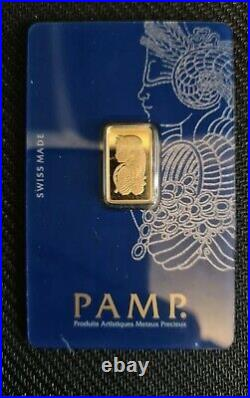 2.5g Gold Bullion Bar PAMP Fortuna. 24ct Investment Grade 999.9 Fine New, Seal