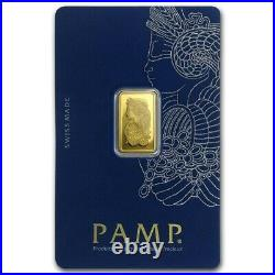 2.5g PAMP Suisse Lady Fortuna Veriscan Gold Bar Bullion Swiss Bullion