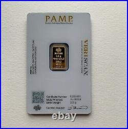 2.5g gold bar Pamp new, sealed with certificate, QR code verification via App