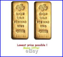 2 Kilo (PAIR) Pamp Suisse Gold Bar. 9999 Fine AVAILABLE to ship