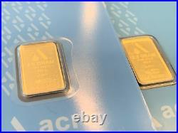 2 Pamp Suisse Acre 2.5 Gram 999.9 Fine Gold Bars Sealed