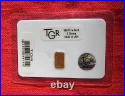 2 gram GOLD BAR TGR BULLION SECURITY EDITION 9999 Ingot Sealed In Assay card