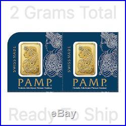 2 x 1 gram = 2 Grams Gold Bar Pamp Suisse Sequential Serial # Fortuna Veriscan