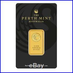 20 gram Perth Mint Gold Bar. 9999 Fine (In Assay)