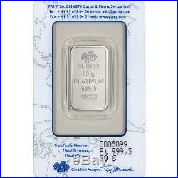 20 gram Platinum Bar PAMP Suisse Fortuna 999.5 Fine in Assay