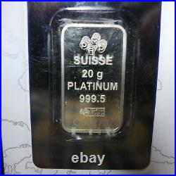 20 gram platinum bar in assay card. With serial number
