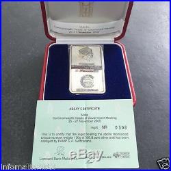 2005 Malta Lombard Bank Silver Ingot 100g CHOGM