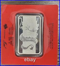 2012 100 Gram Silver Pamp Dragon Lunar Series Bar SEALED