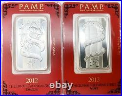 2012-2016 Silver PAMP Suisse 1 oz Silver Bars Lunar Year In Assay 5 Total