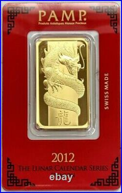 2012 PAMP SUISSE GOLD 1 OZ LUNAR DRAGON SEALED BAR NEW With ASSAY CARD