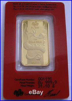 2012 Swiss 1 Oz Gold bar 9999 Lunar Year Calendar Series Dragon