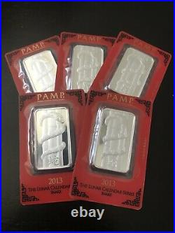 2013 Silver PAMP Suisse 1 Oz Bar (5 Bars) Lunar Year of Snake In Assay