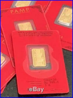 2014 Pamp Suisse Lunar Horse 5 Gram Gold Bar In Assay Card 999.9