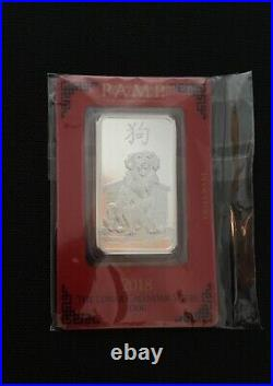 2018 PAMP Suisse Lunar Year of the Dog 1 oz. 999 Silver Bar in Assay card +