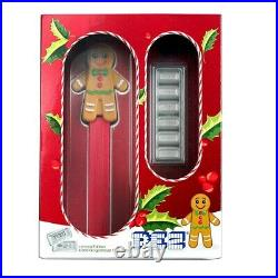 2020 PEZ Gift Set with Gingerbread Man Dispenser & 6x 5 g. 999 Silver Wafers NEW