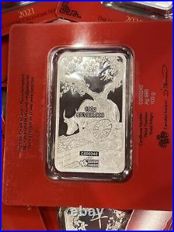 2021 PAMP SUISSE 100 gram Lunar Year of the Ox. 999 Silver Bar in Assay