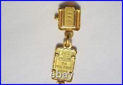 21k Gold, (1 Gram Pamp Suisse. 999 Lady Fortuna) Coin (6 ¾ inch) Bracelet