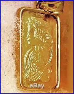 24K GOLD 10 Gram PAMP Suisse Lady Fortuna Bar 14K GOLD Pendant Frame & Bale