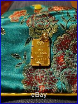 24k 10 Gram PAMP Suisse Lady Fortuna Gold Bar Pendant 14k gold Bezel