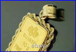 24k 10 Gram PAMP Suisse Lady Fortuna Gold Bar Pendant Rope Bezel Yellow Gold