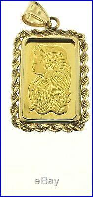24k 10 Gram PAMP Suisse Lady Fortuna Gold Bar Pendant Rope Bezel Yellow Gold