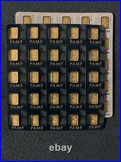 (25) 1 gram Au 999.9 PAMP Suisse GOLD bars