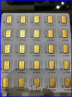 25 PAMP Suisse 1 Gram. 9999 Gold Bar Fortuna Sealed Assay Certificate Full Sheet