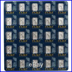 25 X 1 Gram Pamp Fortuna Platinum Bar. 9995 Fine Multigram Veriscan