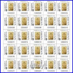 25 x 1 GRAM GOLD BARs PAMP SUISSE